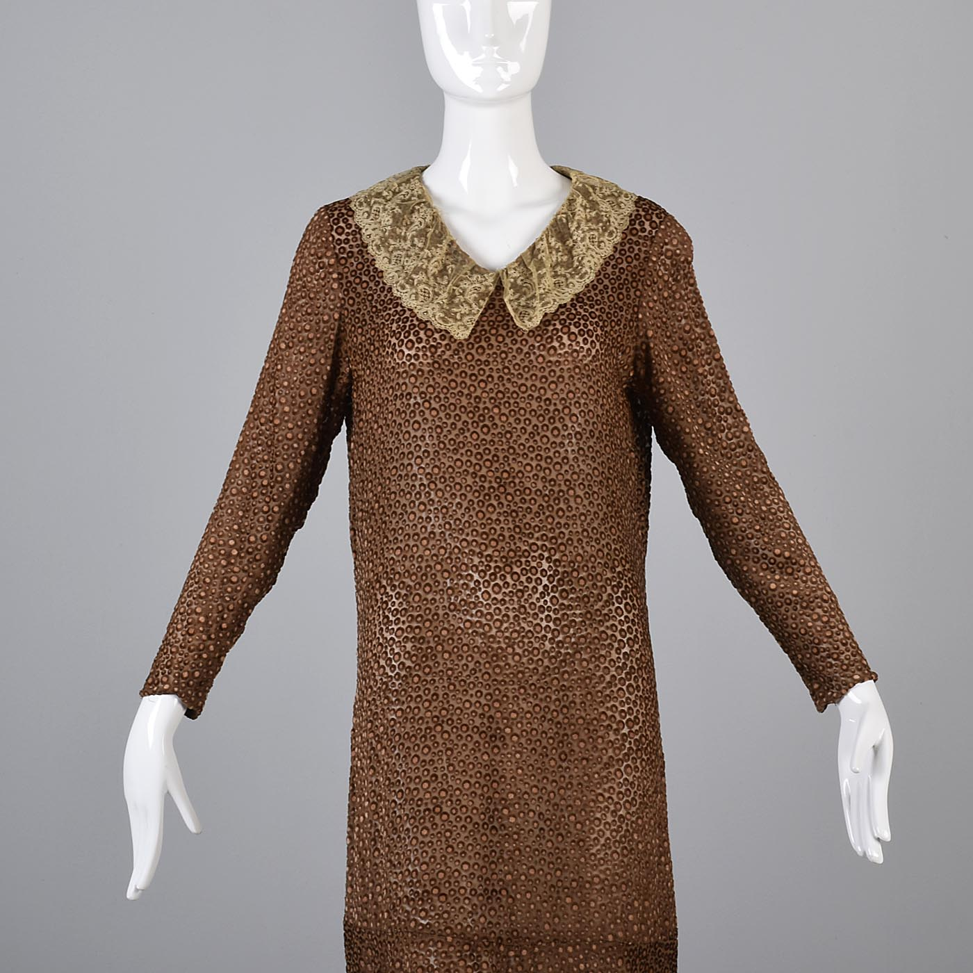 1920s Brown Silk Dress with Lace Trim