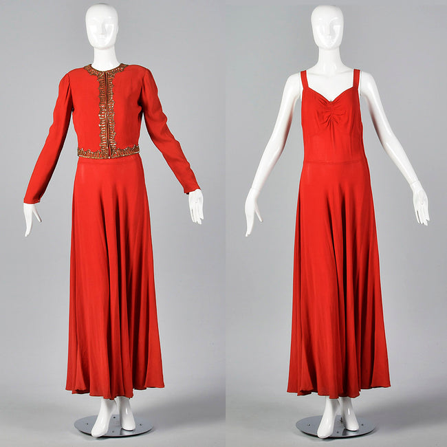 1940s Red Crepe Evening Dress & Matching Jacket with Sequin Trim