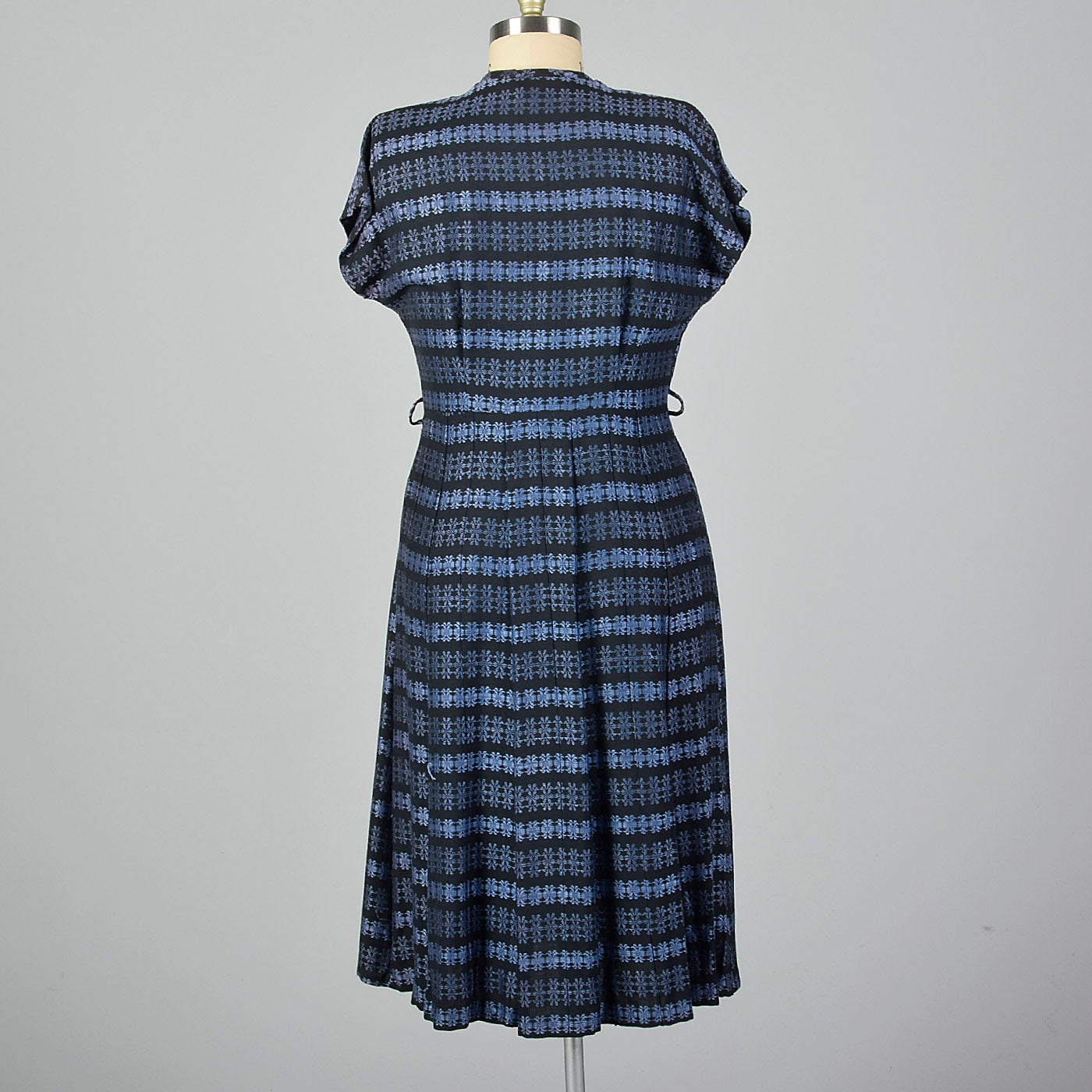 1950s Blue Stripe Dress with Floral Corsage
