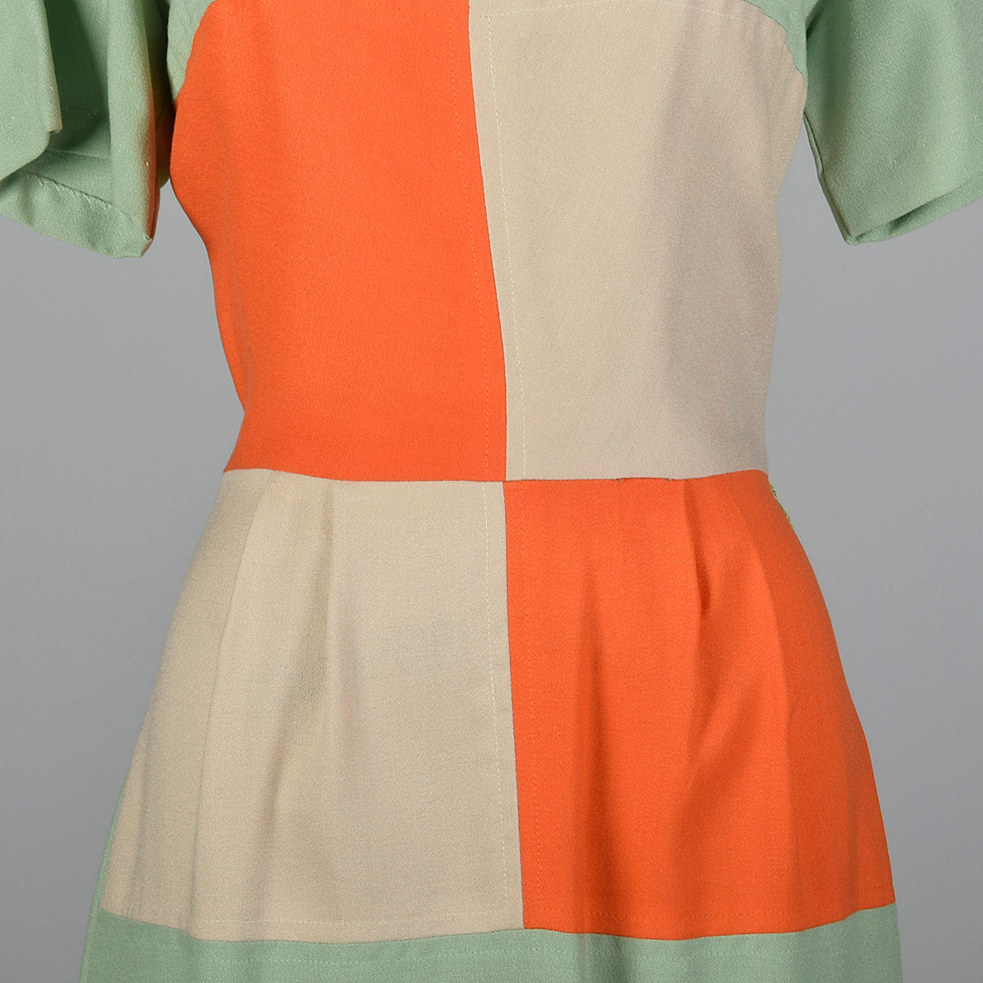 1950s Day Dress with Color Block Waist