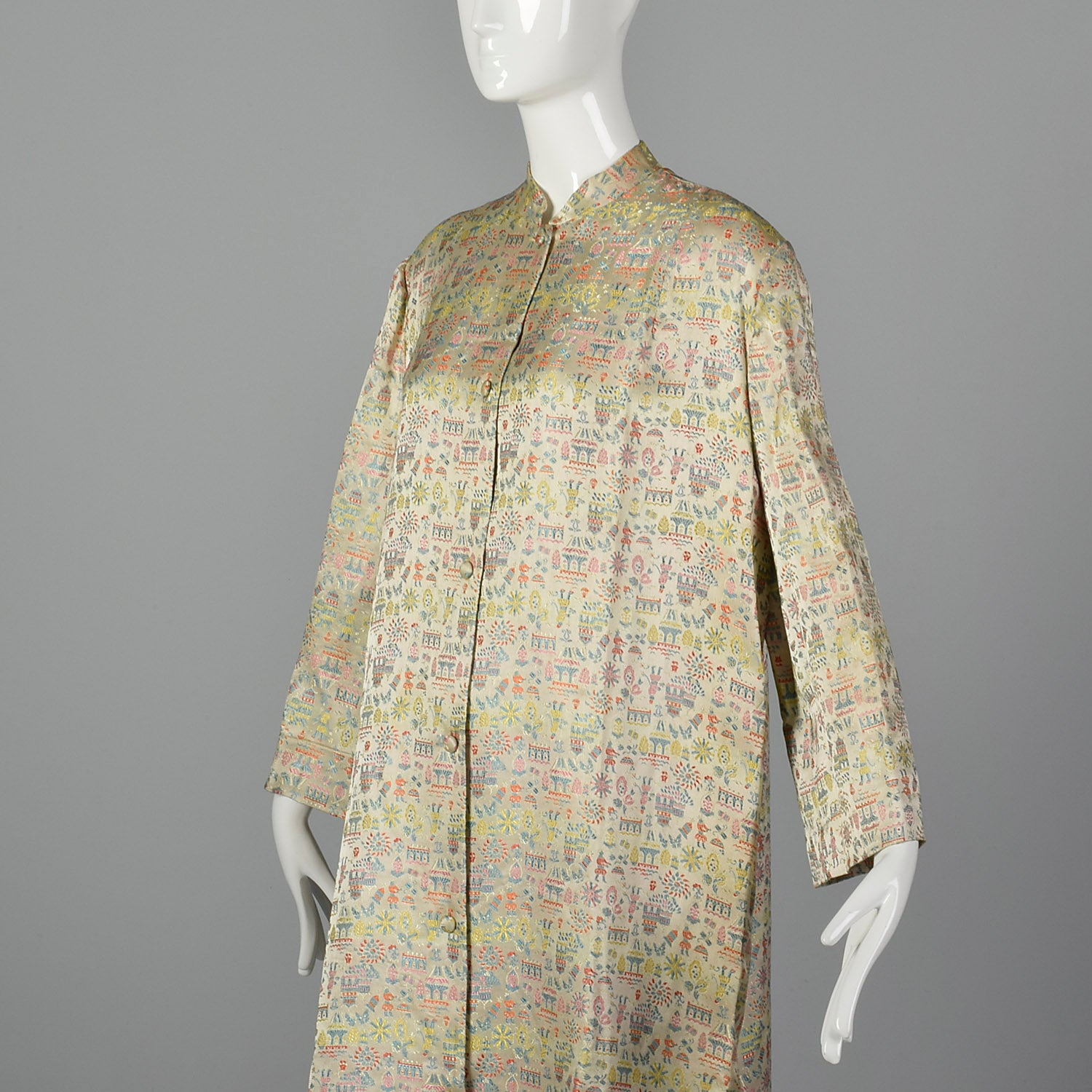 1960s Novelty Figural Brocade Coat