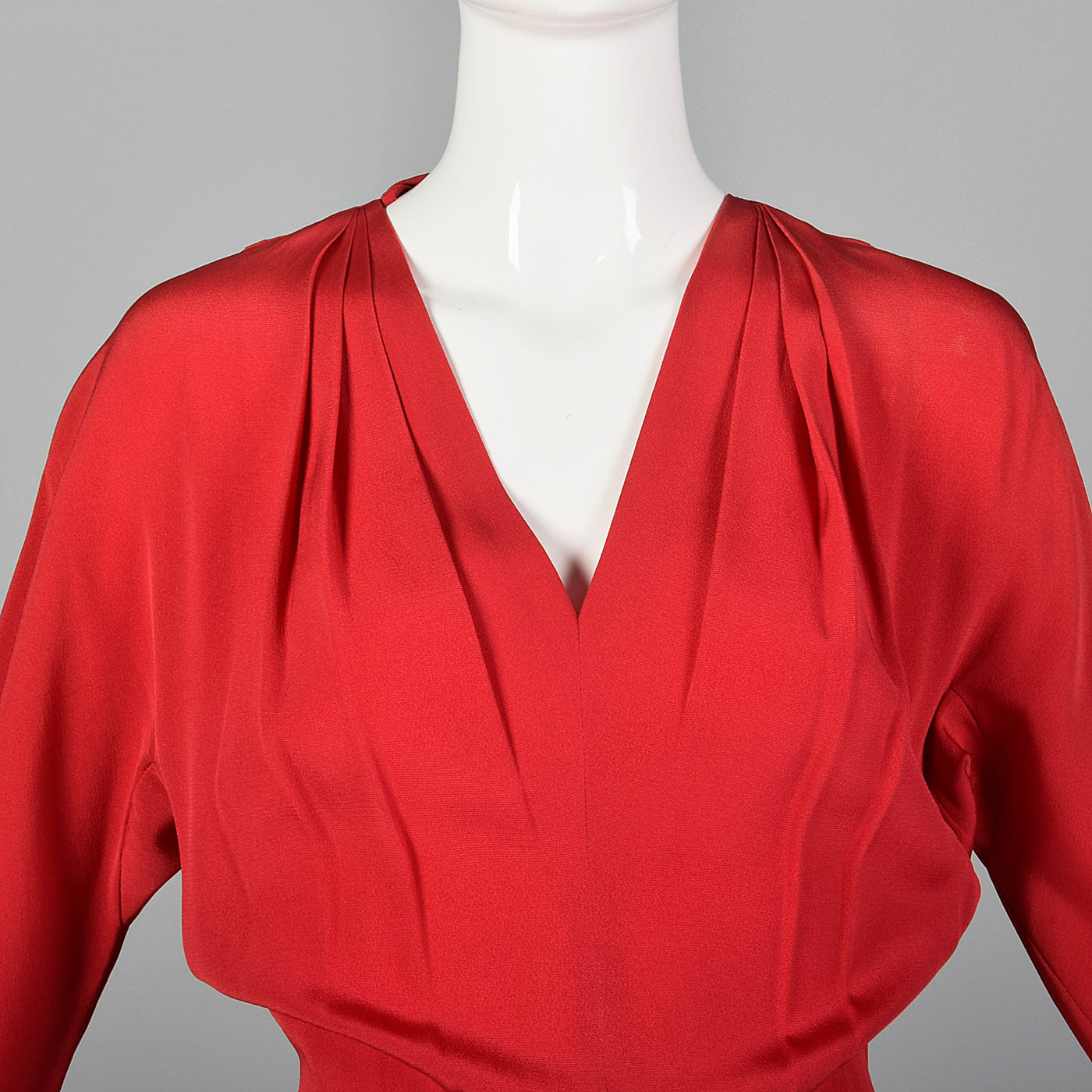 1940s Red Rayon Gown with Gorgeous Skirt