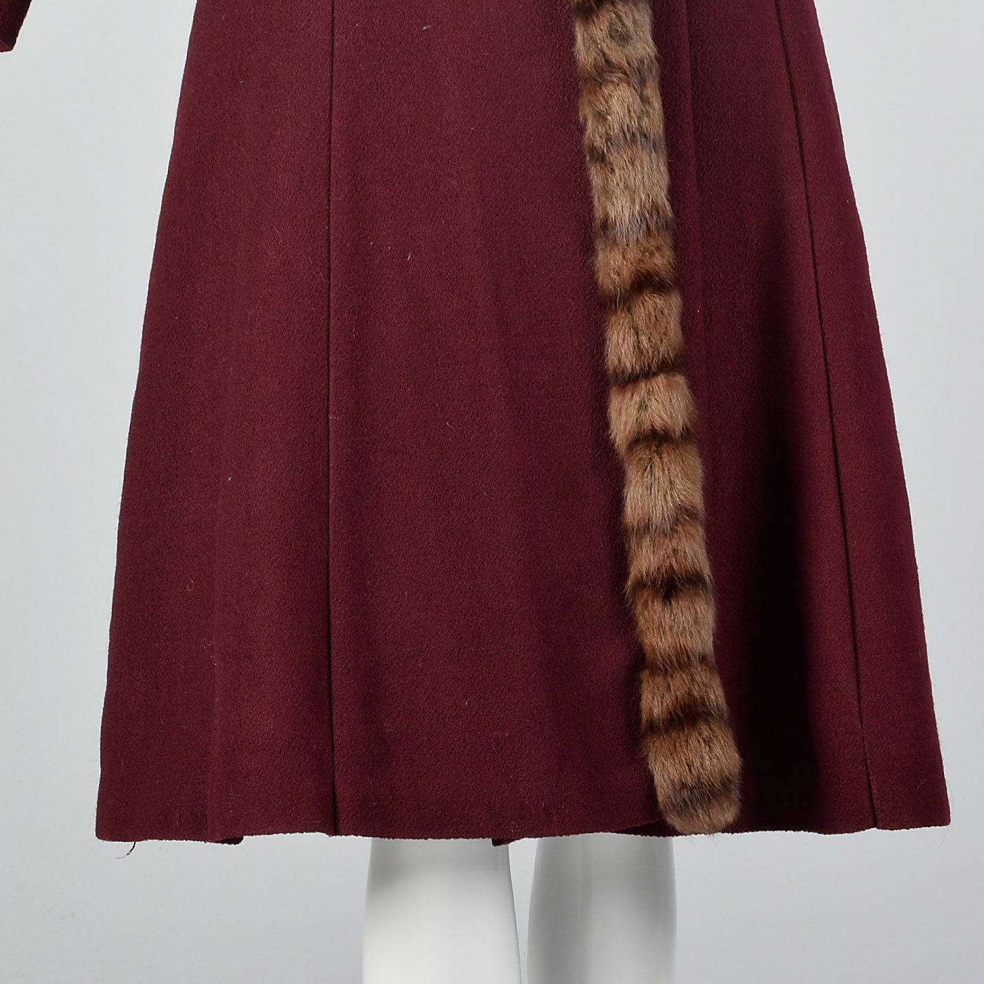 1940s Burgundy Wool Coat with Fur Trim