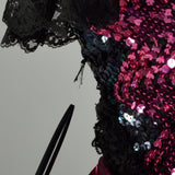 1980s Pink Prom Dress Saloon Girl Strapless Lame Gown Black Lace Sequins