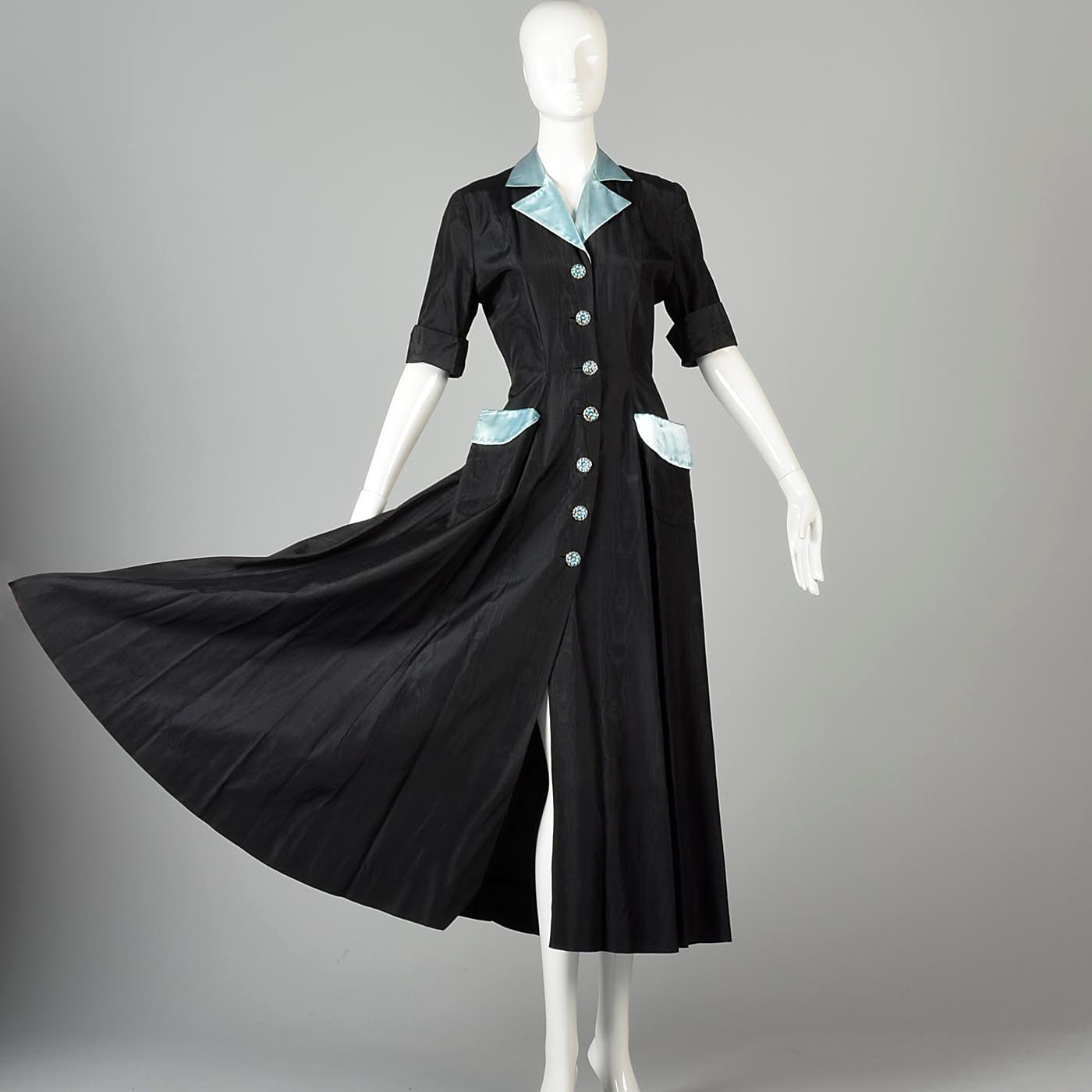 1950s Black Hostess Dress with Aqua Trim