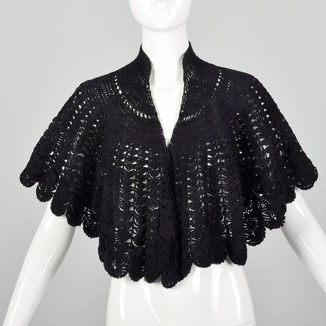 1890s-1900 Black Crochet Cape