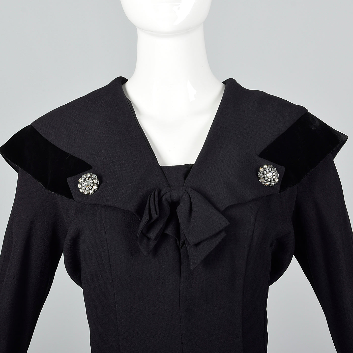 1950s Black Rayon Dress with Velvet Trim and Shawl Collar