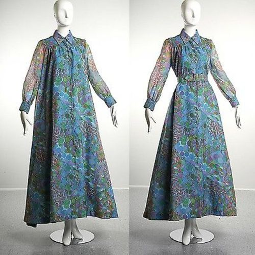 1960  Long Sleeve Maxi Tent Dress Trapeze Geometric Psychedelic Blue Belted