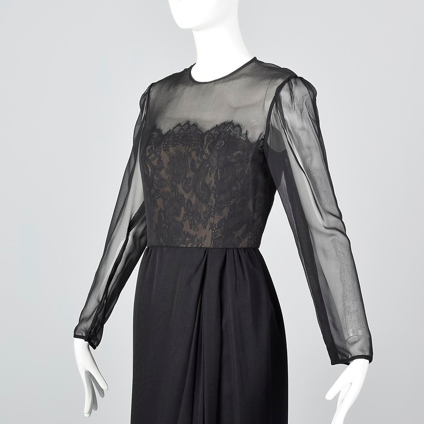 Michael Novarese Long Sleeve Black Evening Dress with Lace Illusion Bodice