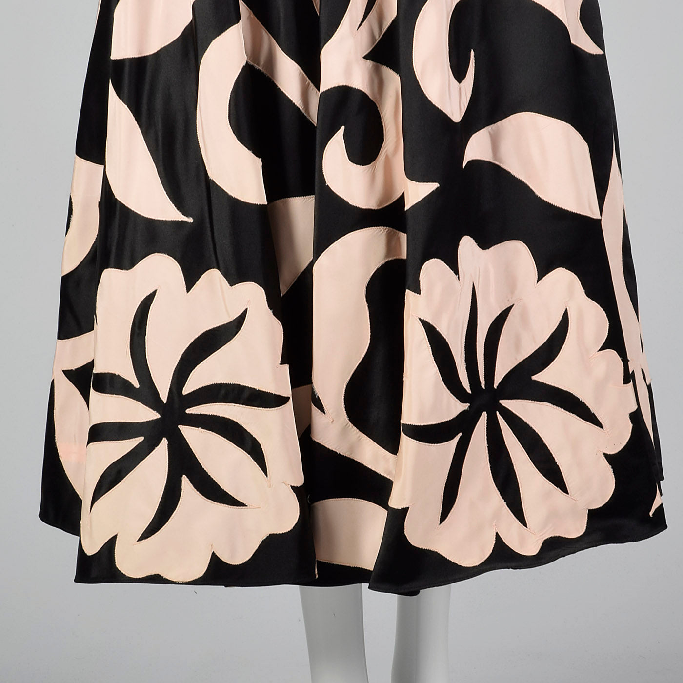 1980s Black Party Dress with Applique Full Circle Skirt