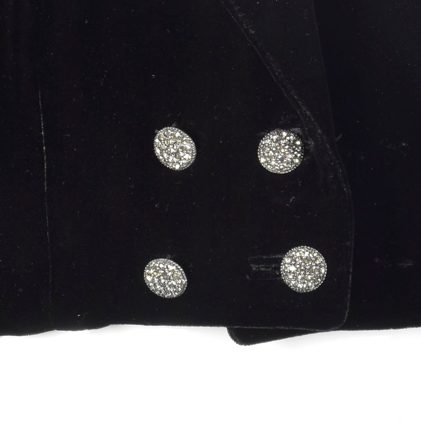 1970s Black Velvet Bolero with Rhinestone Buttons