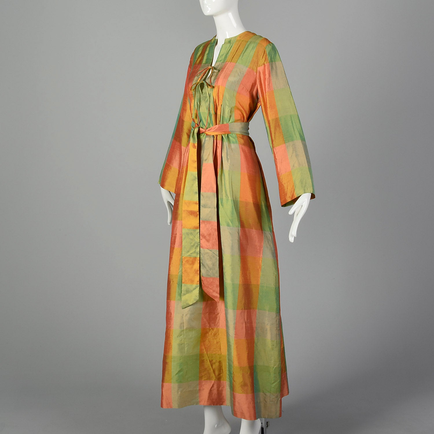 Medium Treacy Lowe 1970s Green and Orange Plaid Silk Maxi Dress