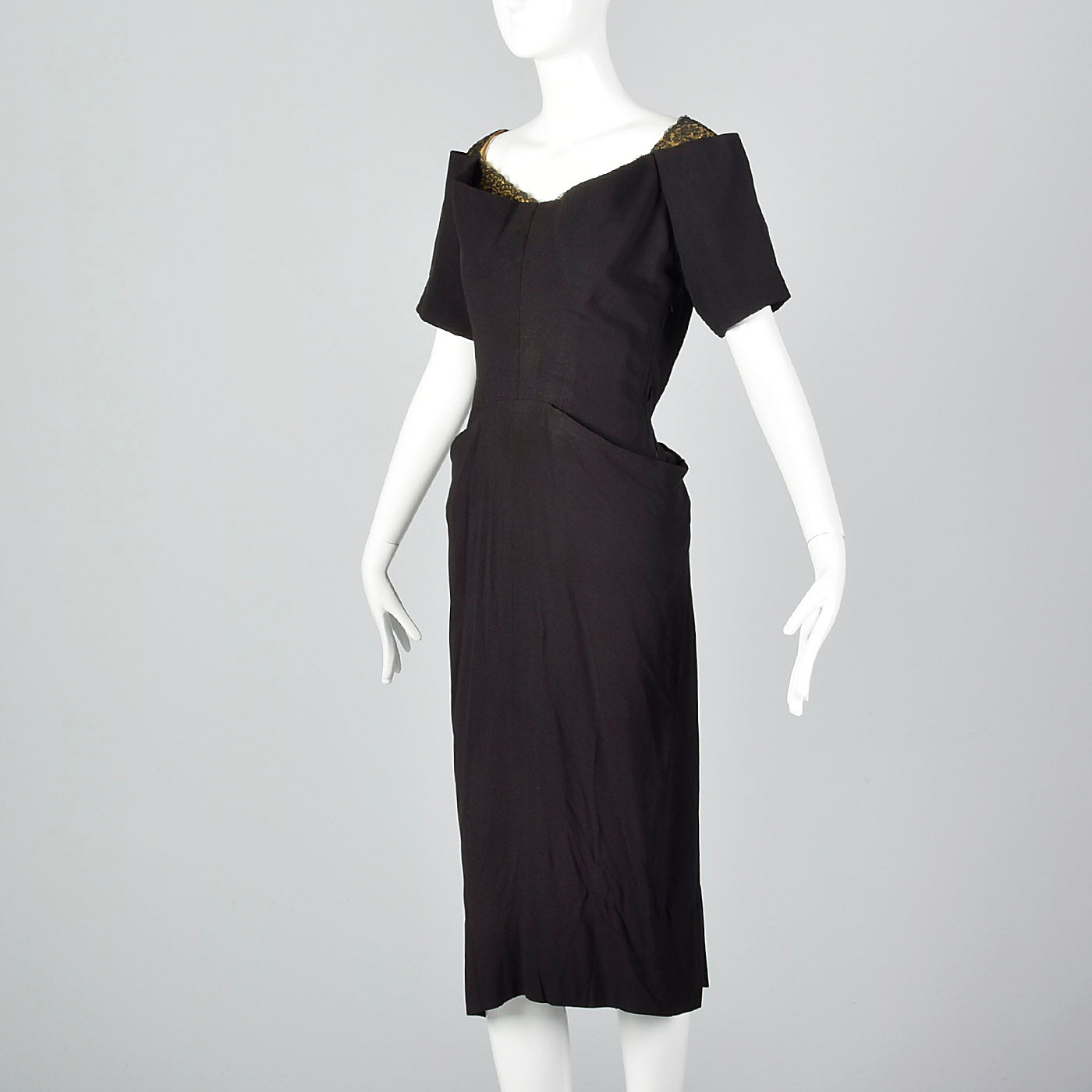 1940s Black Rayon Dress with Gold Trim
