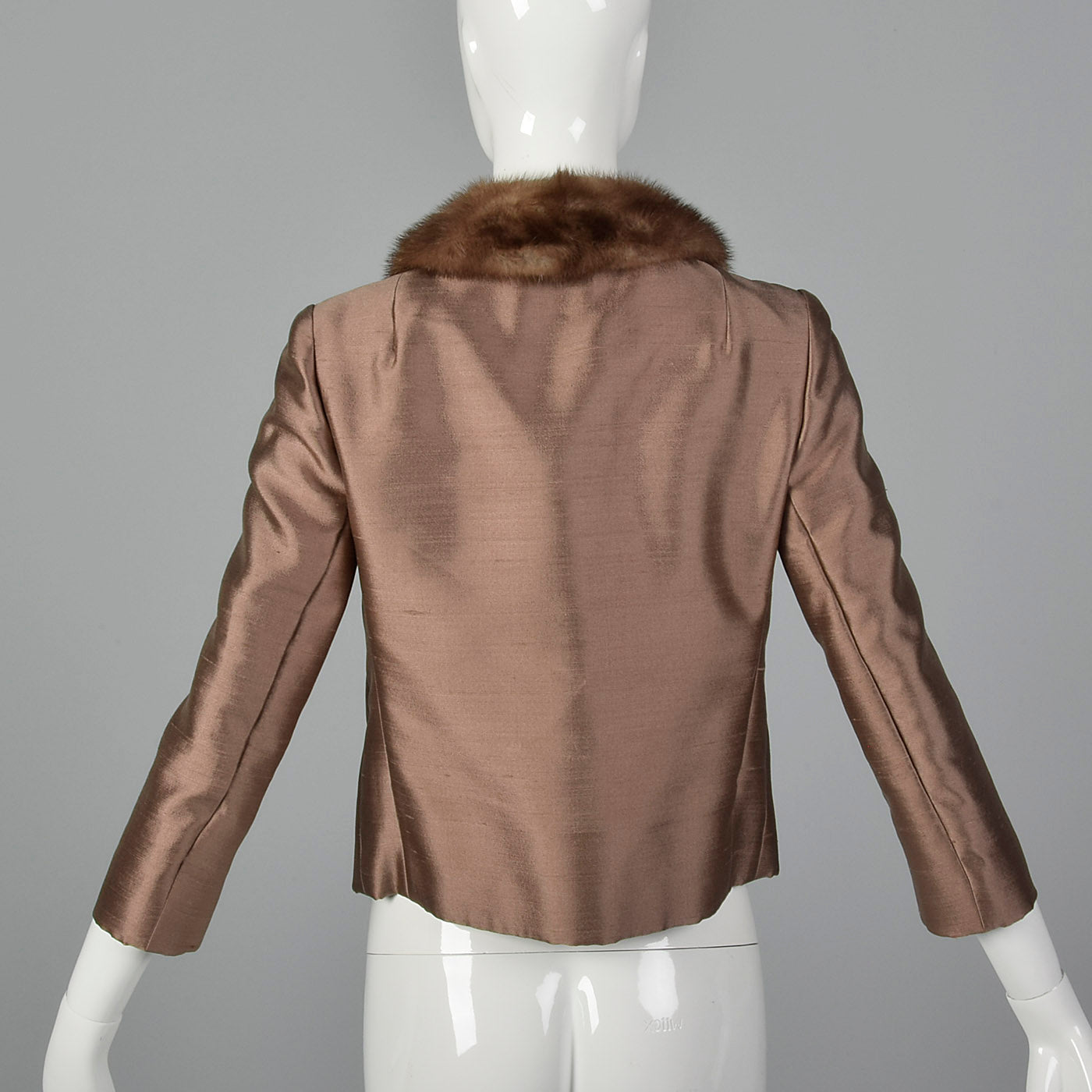 1960s Brown Silk Jacket with Fur Collar