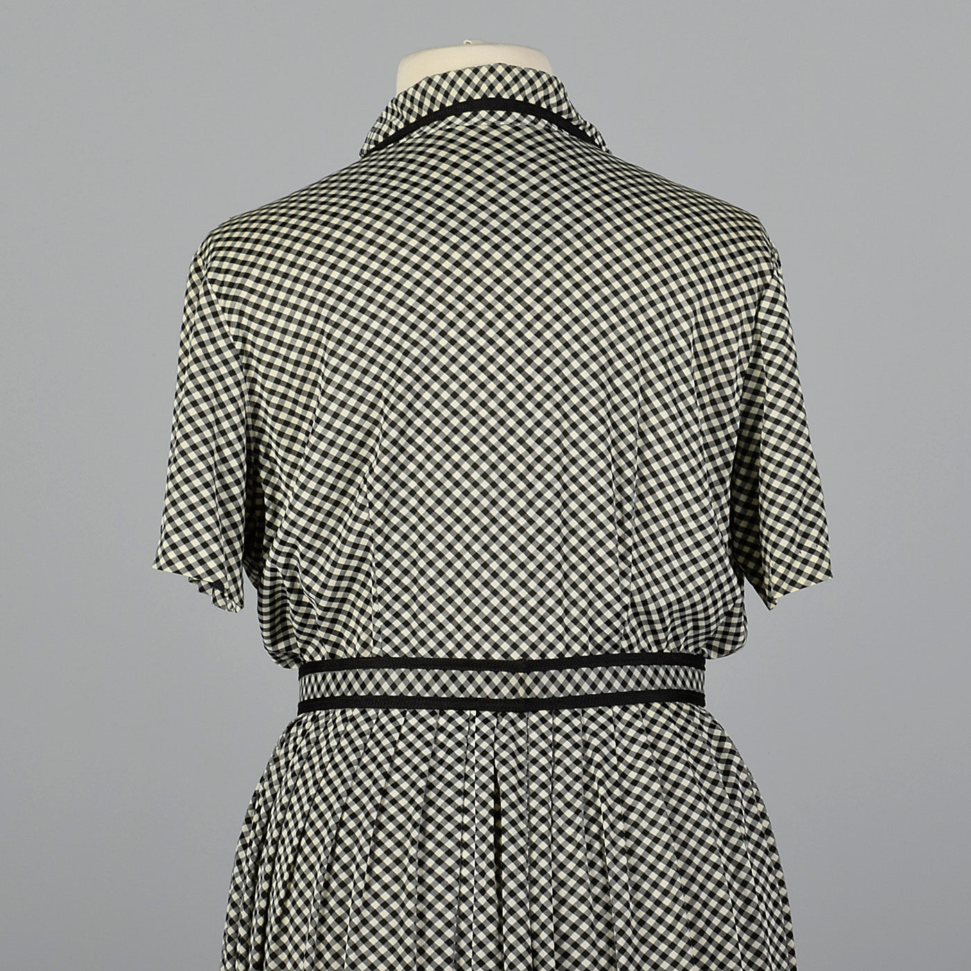 1950s Black and White Gingham Dress