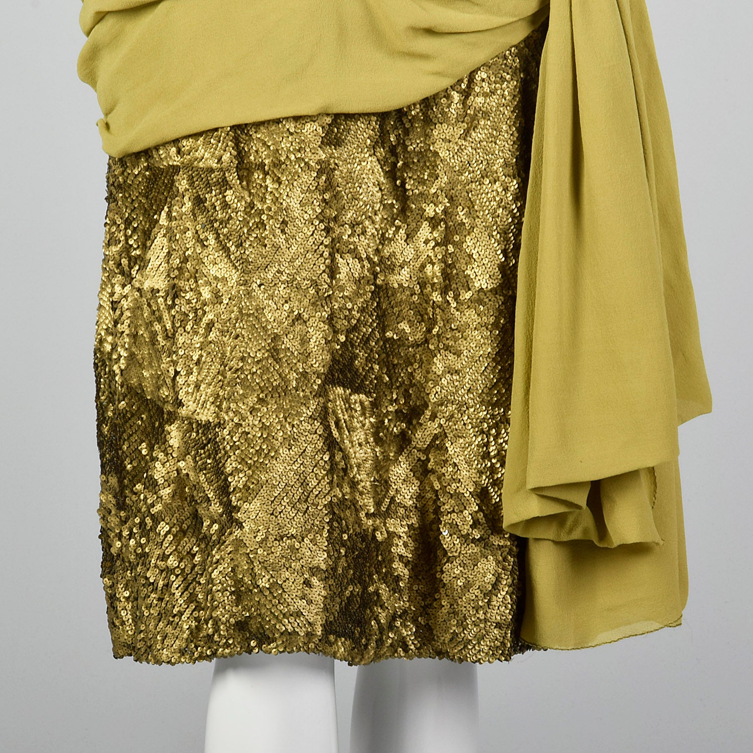 1920s Silk Dress with Gold Sequins and Gold Lamé Trim