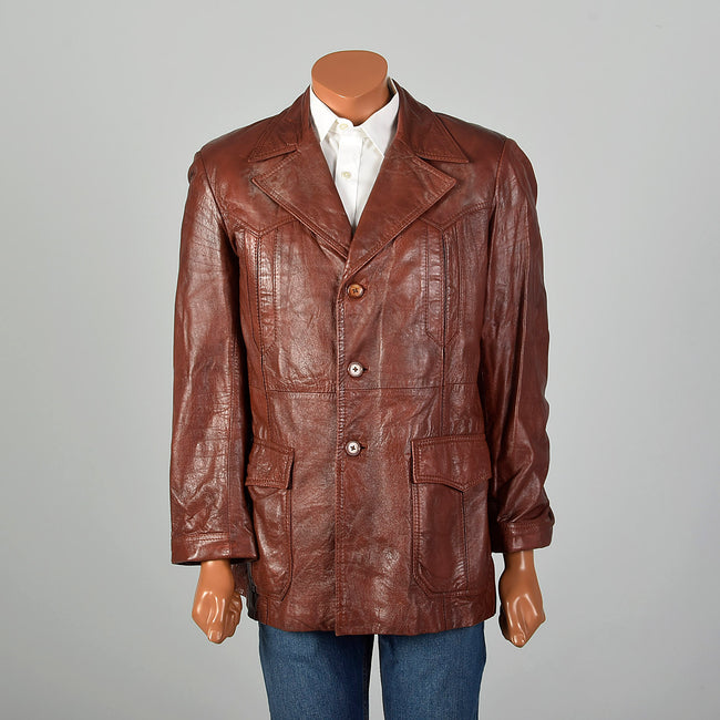Medium 1970s Men's Burgundy Leather Jacket