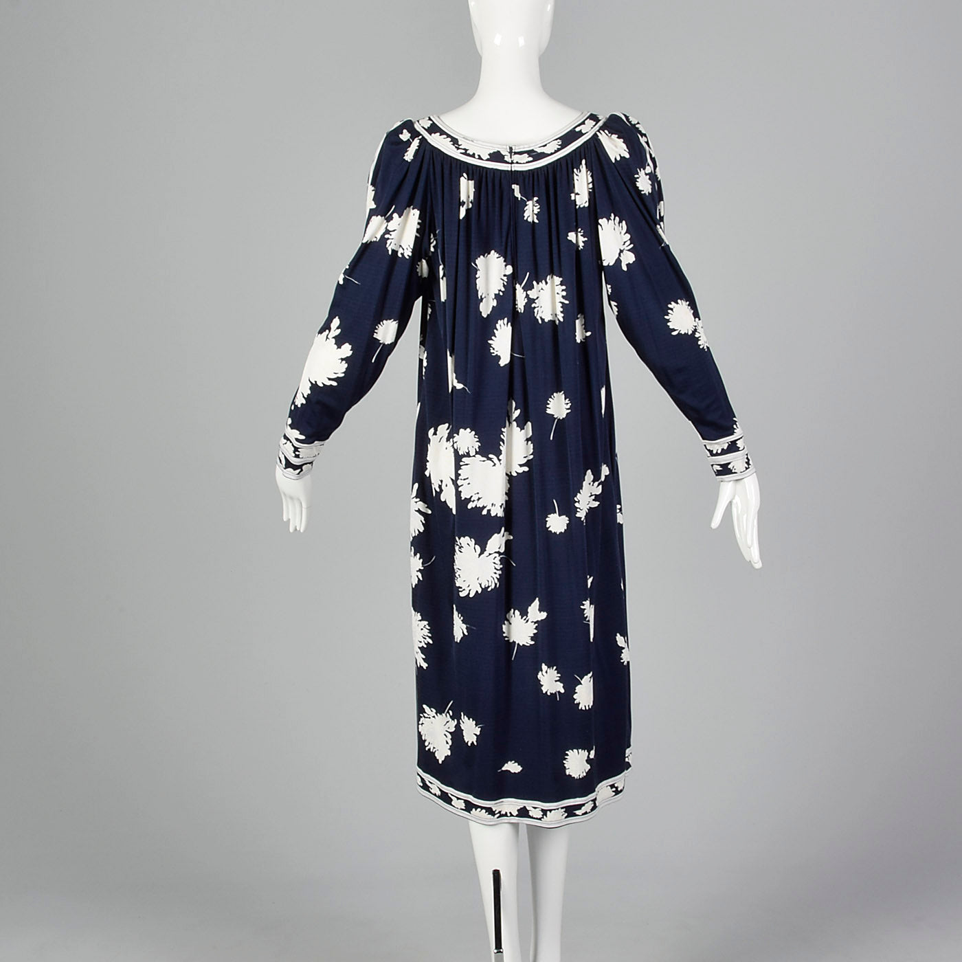 1980s Leonard Paris Navy Blue Floral Dress
