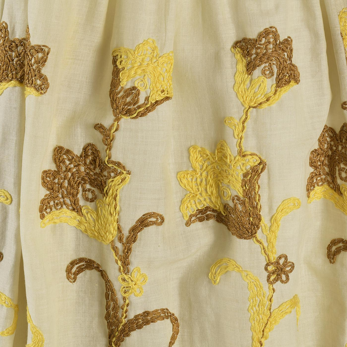 1950s Yellow Day Dress with Floral Embroidery