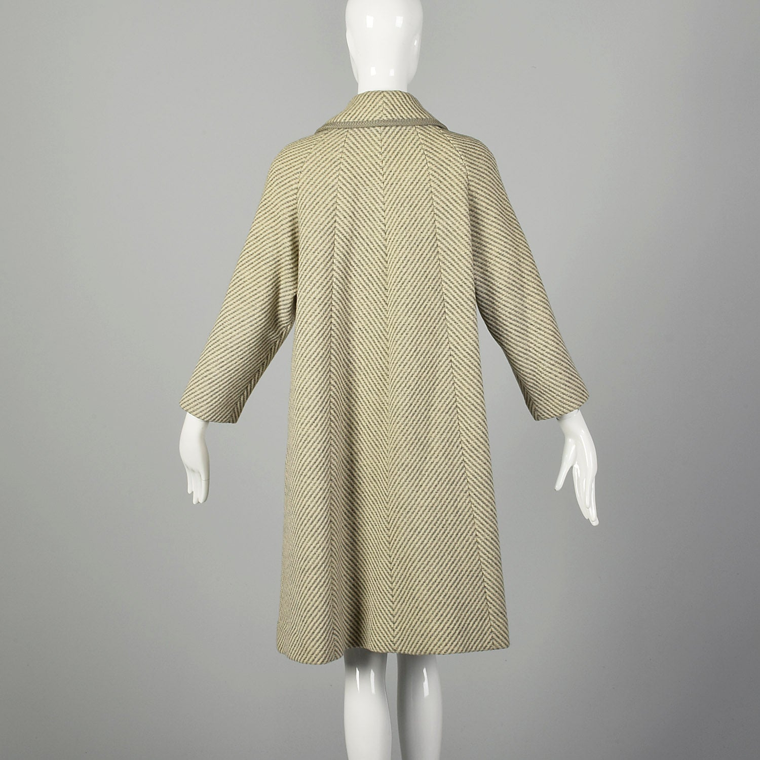 Large 1950s Swing Coat Gray Herringbone Stripe Wool Tweed Peter Pan Collar Winter Outerwear