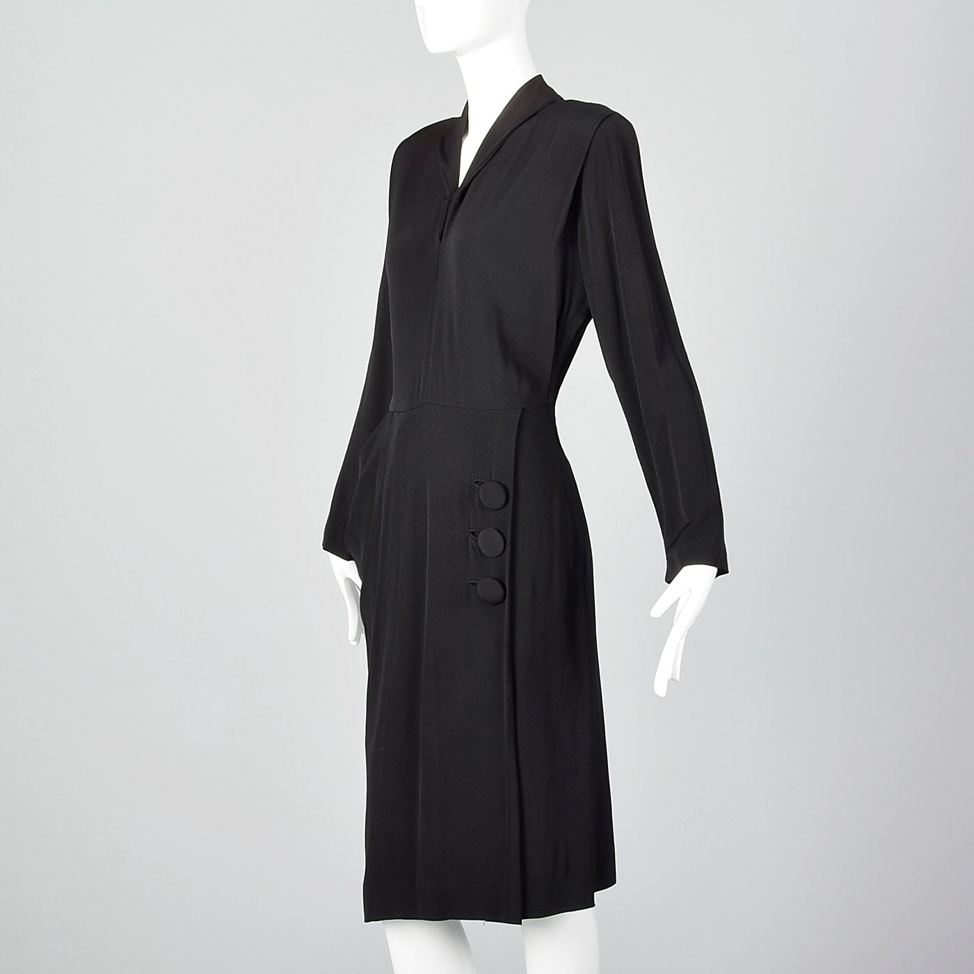 1940s Black Rayon Dress with Draped Hip Pocket
