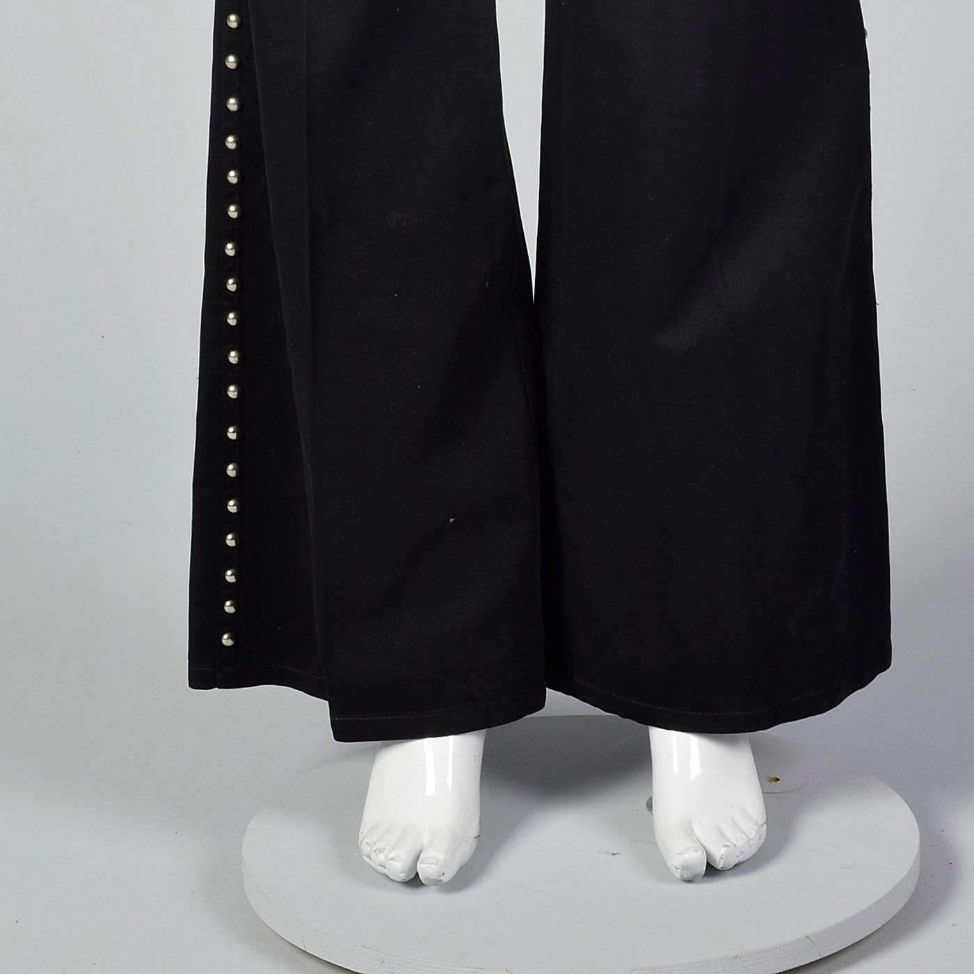 1970s Silver Studded Black Bell Bottoms