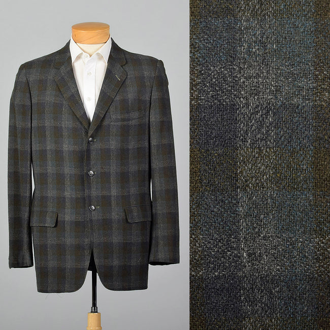 1970s Blue and Green Shadow Plaid Jacket