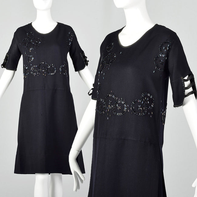 XS 1920s Black Beaded Dress