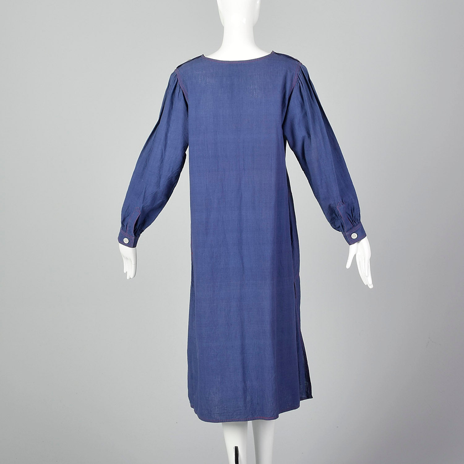 1970s Yves Saint Laurent Rive Gauche Loose Chambray Dress with Red Topstitch
