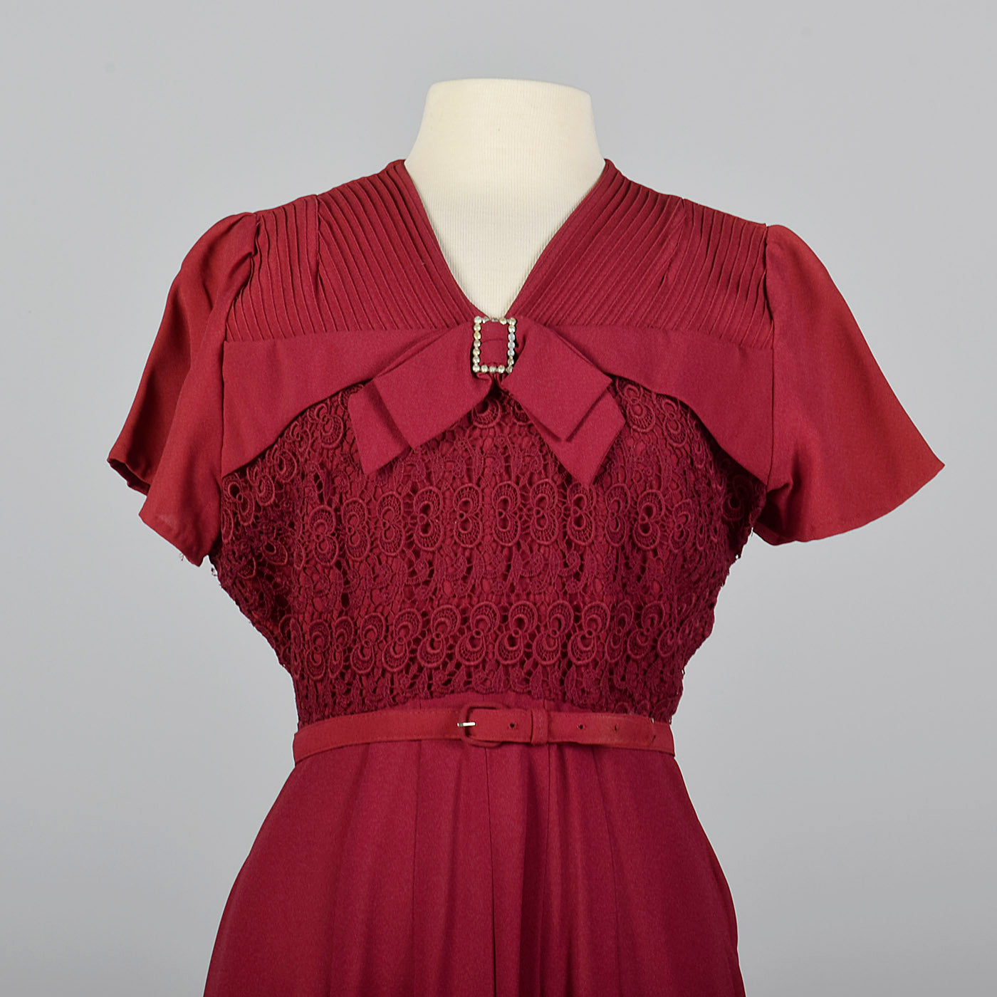 1950s Burgundy Dress with Lace Overlay