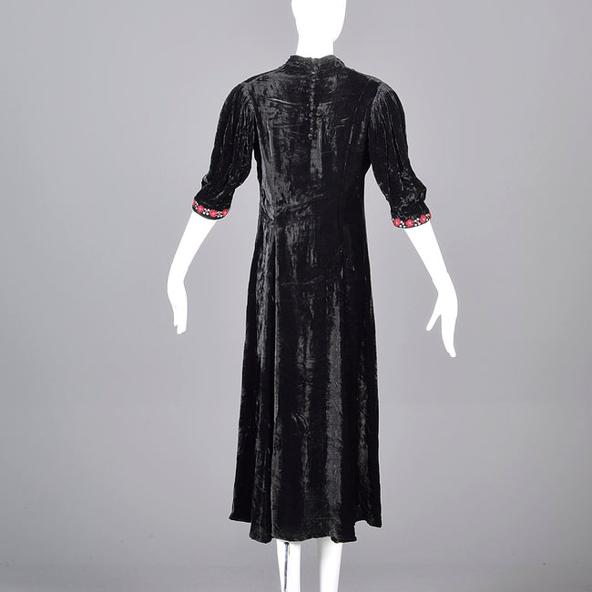 1930s Velvet Dress with Beading and Embroidery Trim