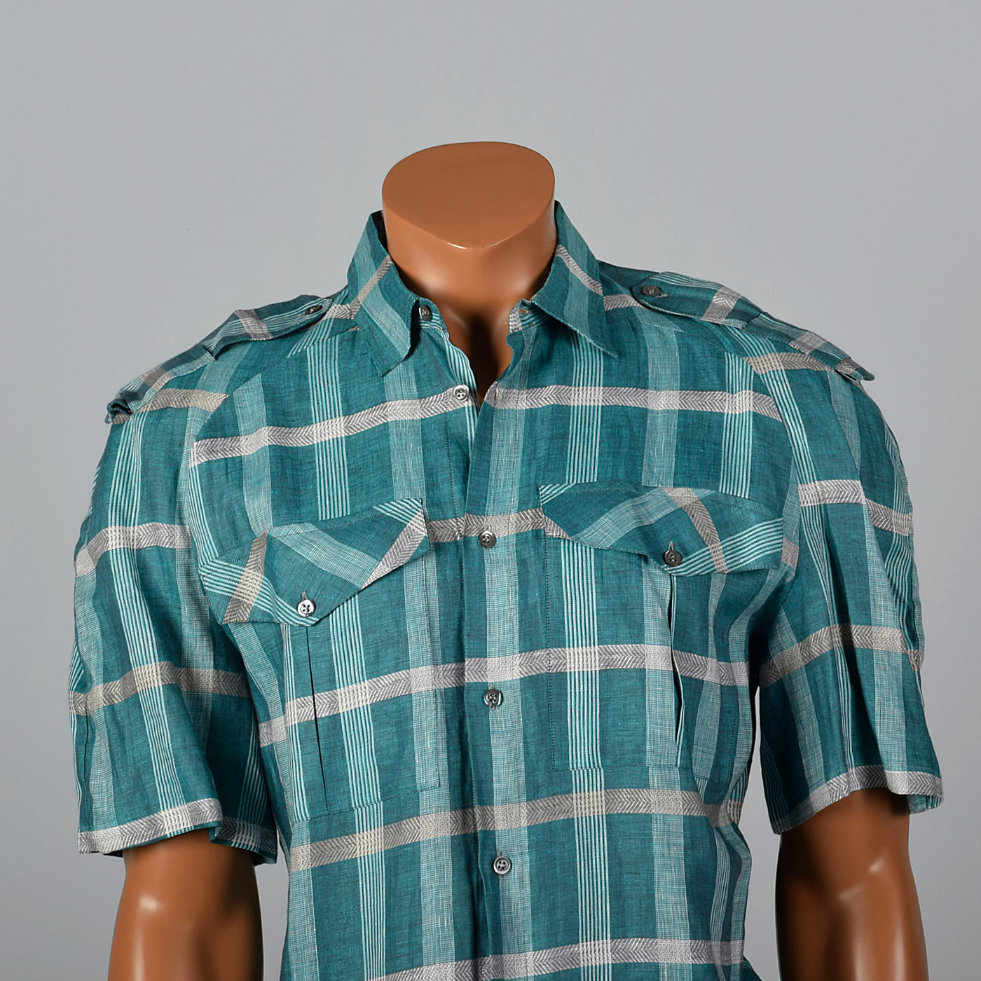 1990s Ted Lapidus Mens Blue Plaid Shirt