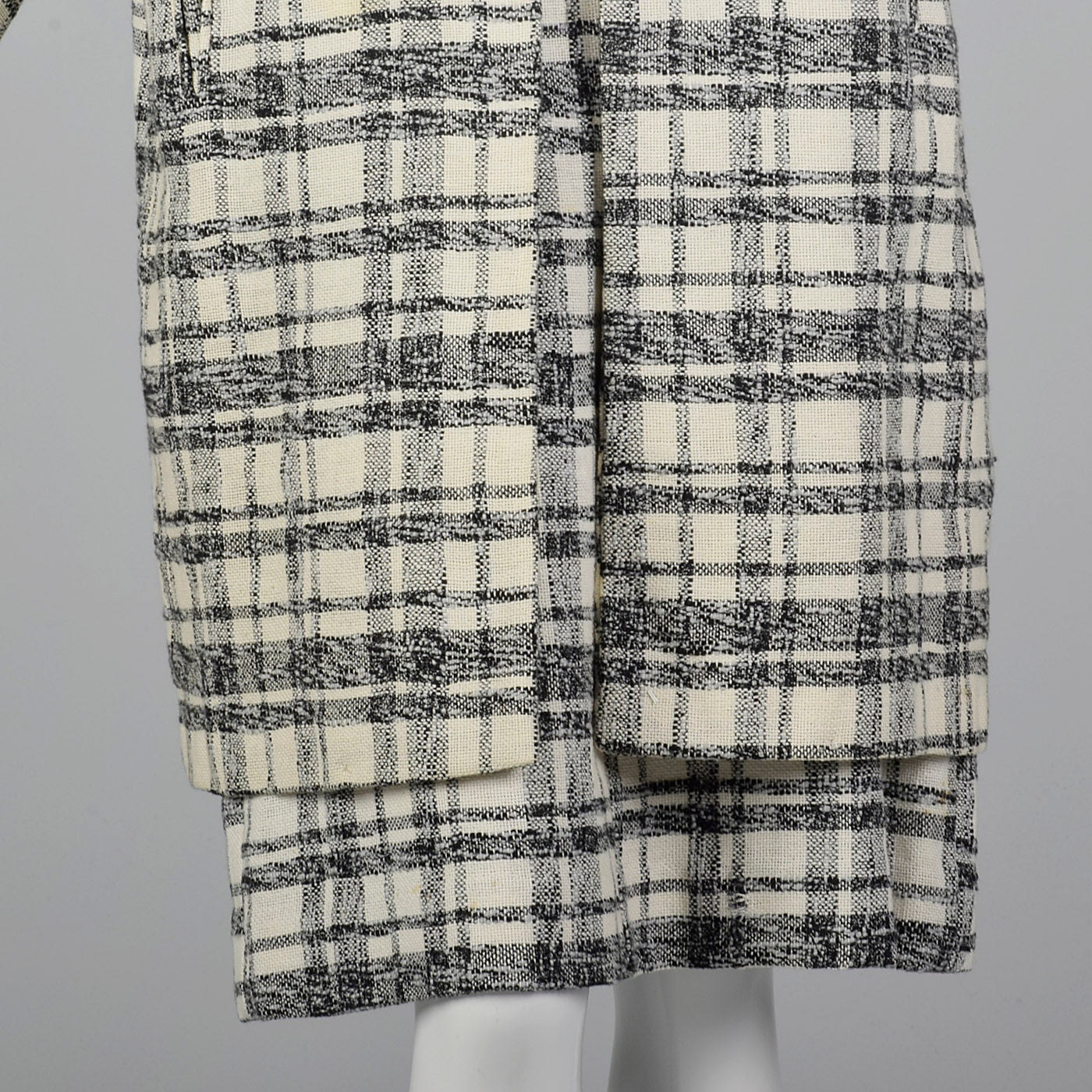 1960s Plaid Clutch Coat with Matching Skirt