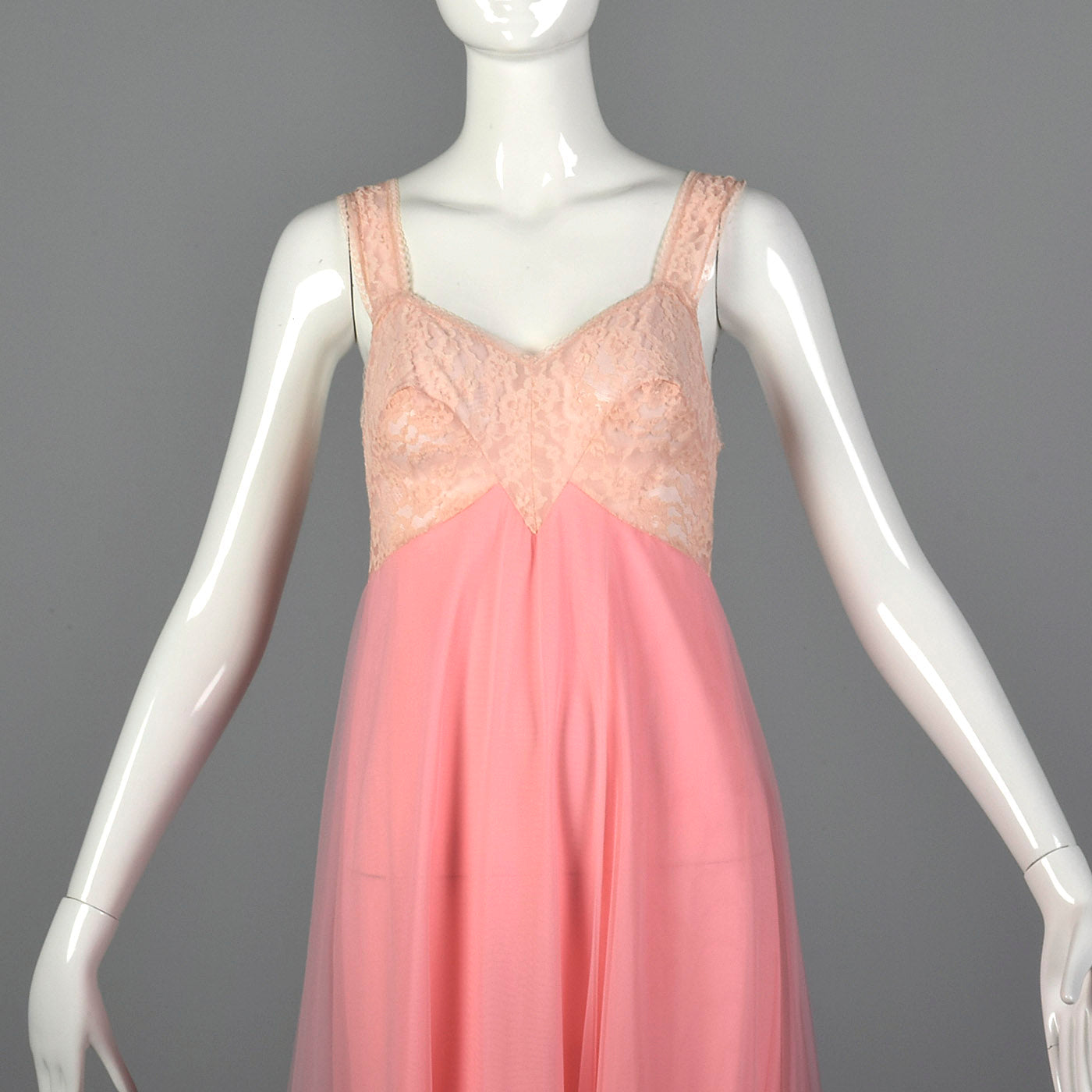 1960s Pink Nightgown with Shaped Lace Bust