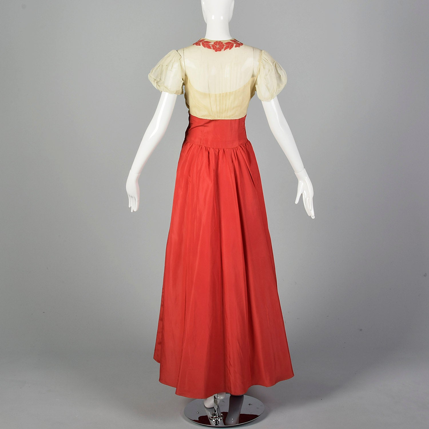 1930s Mesh and Pink Taffeta Gown