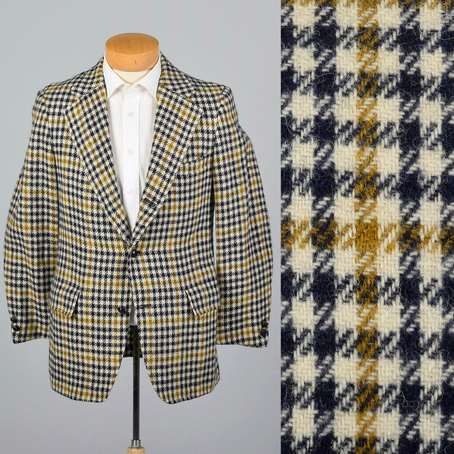 1970s Mens Mod Blazer in Navy Plaid