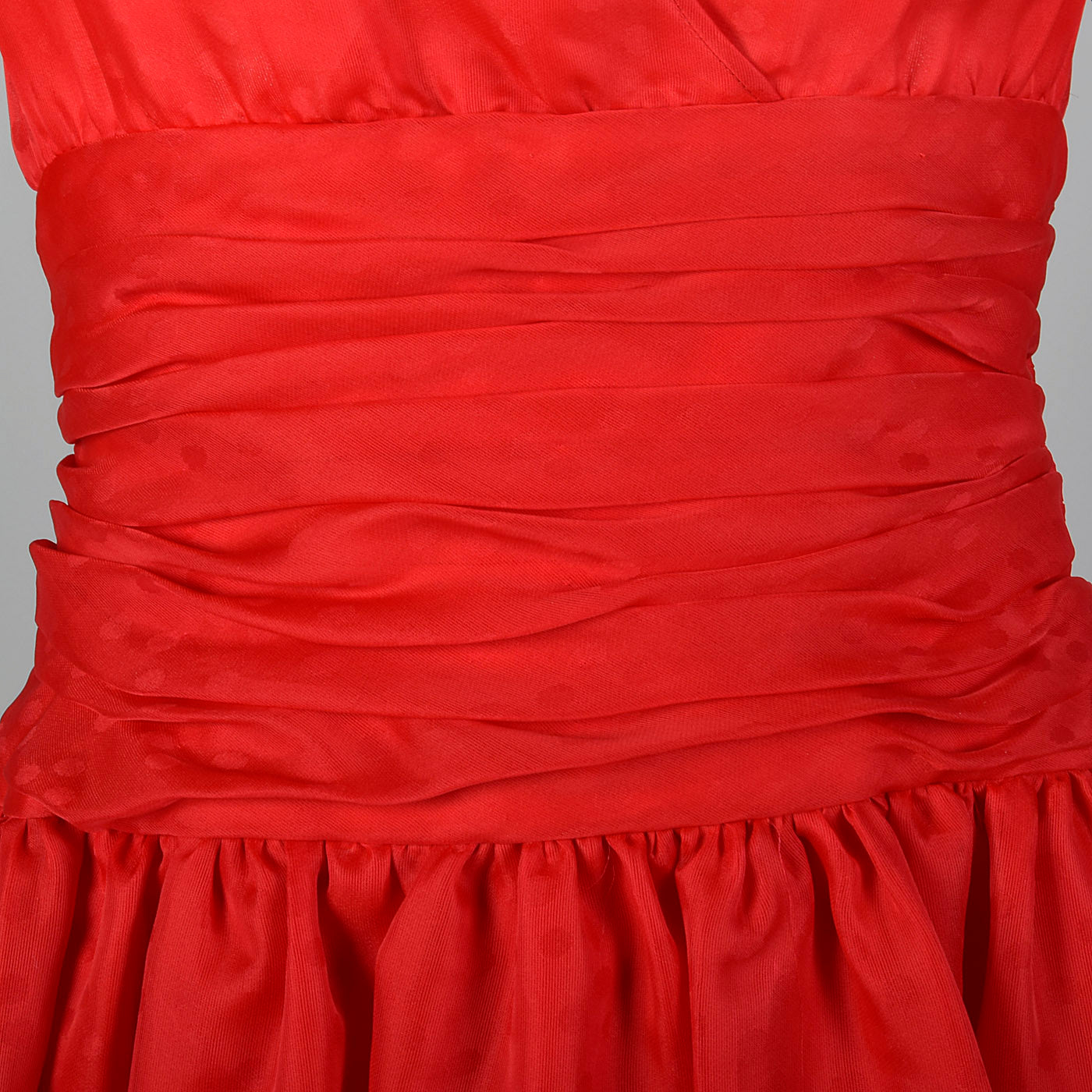 1980s Red Party Dress with Polka Dots