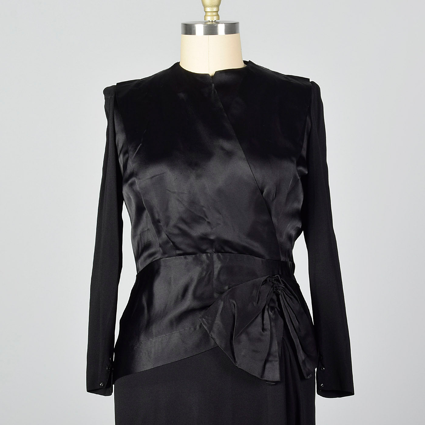 1940s Black Cocktail Dress with Satin Bodice