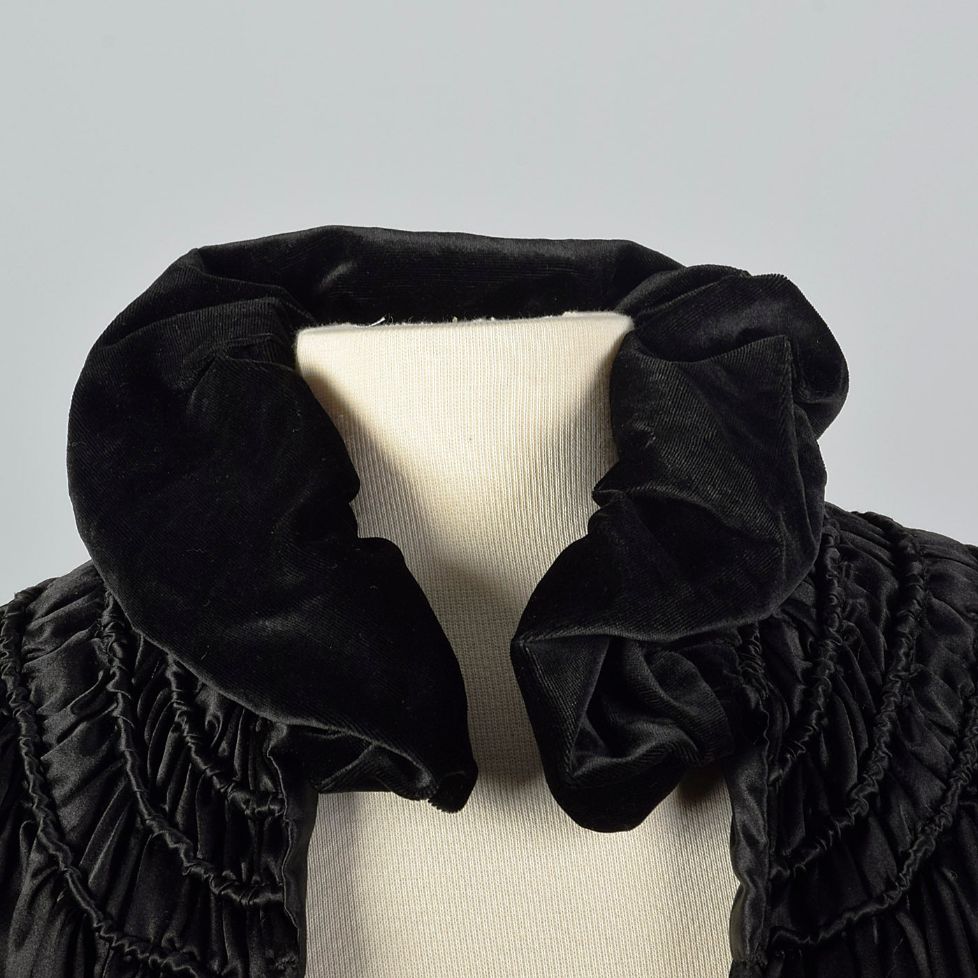 1930s Black Cape with Velvet Trim