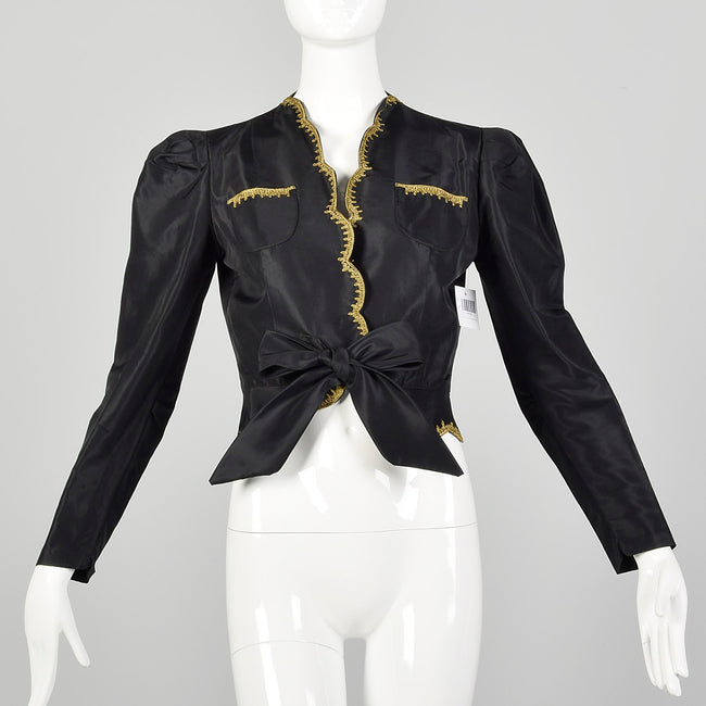 XS 1940s Jacket Black Taffeta Tie Waist Scallop Edge Gold Trim Embroidery Evening Jacket