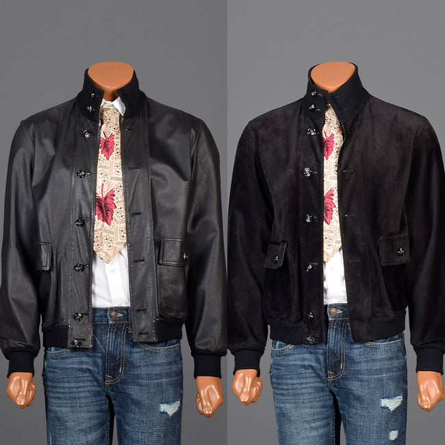 Medium Battaglia 1980s Reversible Black Leather Jacket