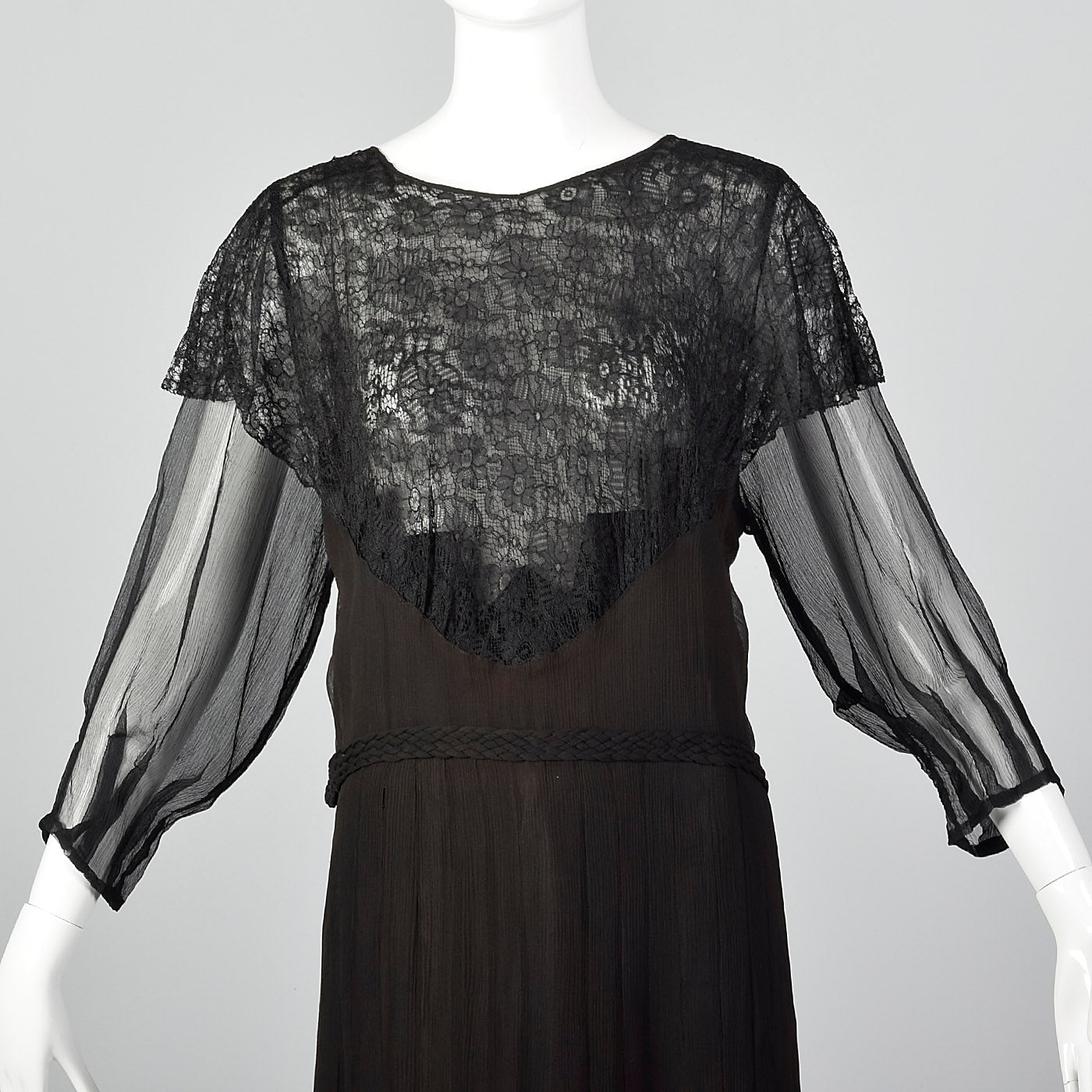 1930s Black Silk Dress with Sheer Lace Bust Panel