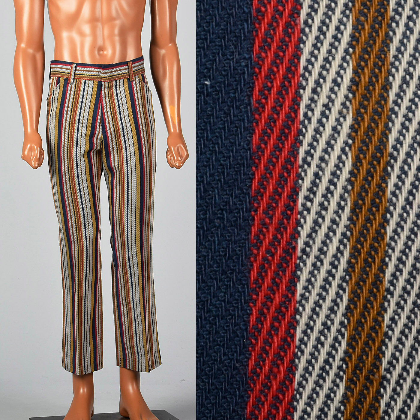 1970s Mens Flat Front Stripe Pants