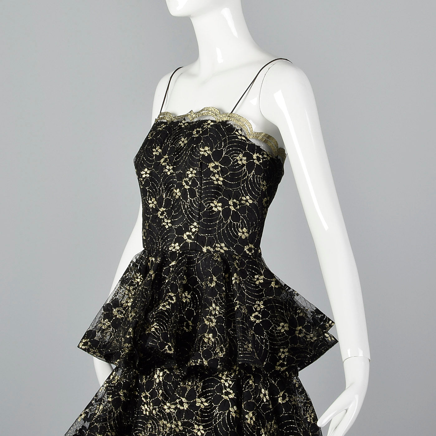 1980s Lillie Rubin Black & Gold Lace Dress with Layered Skirt