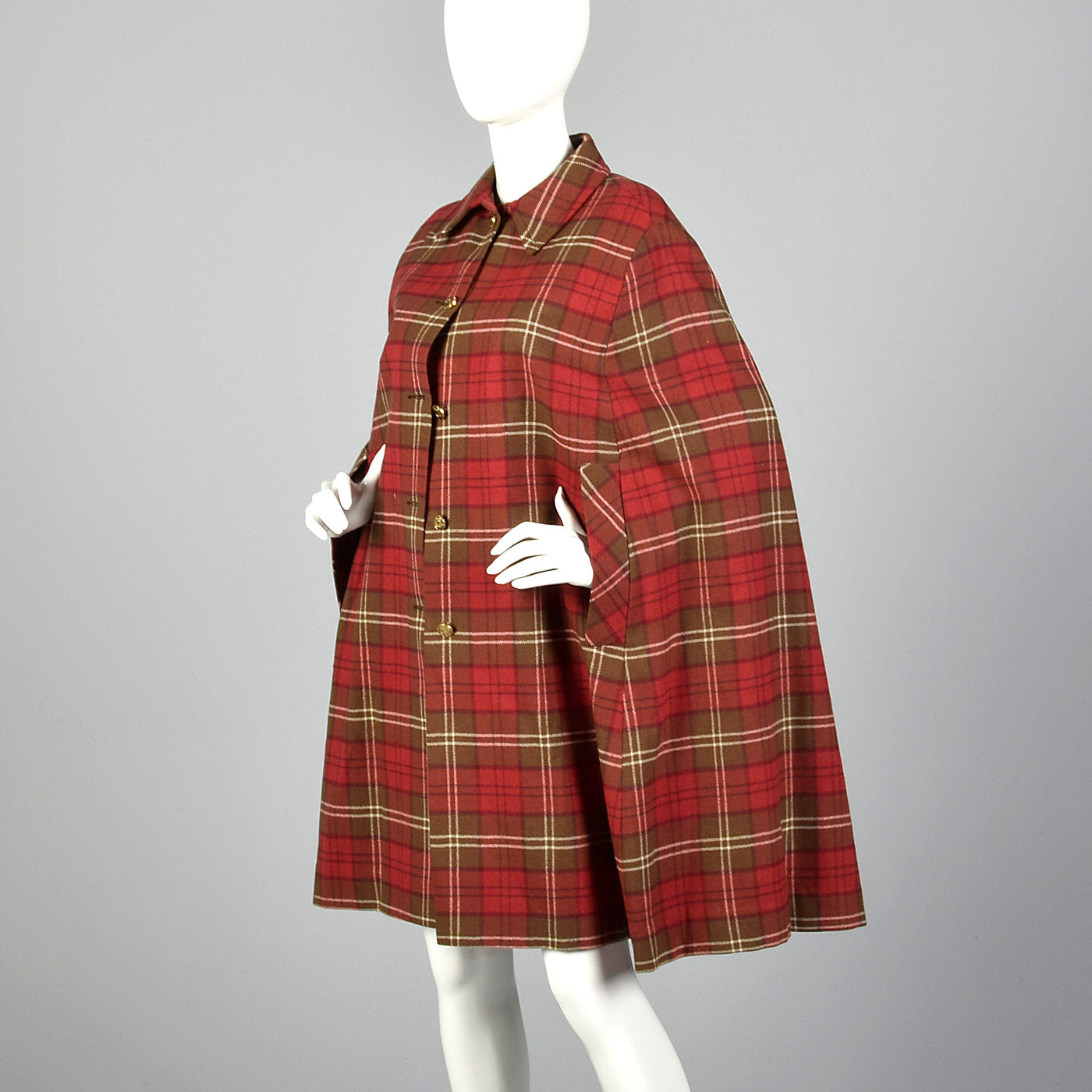 1970s Red Plaid Cape with Button Front