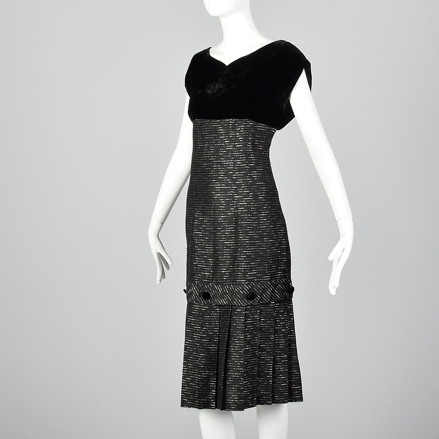 1950s Black Cocktail Dress with Metallic Stripes