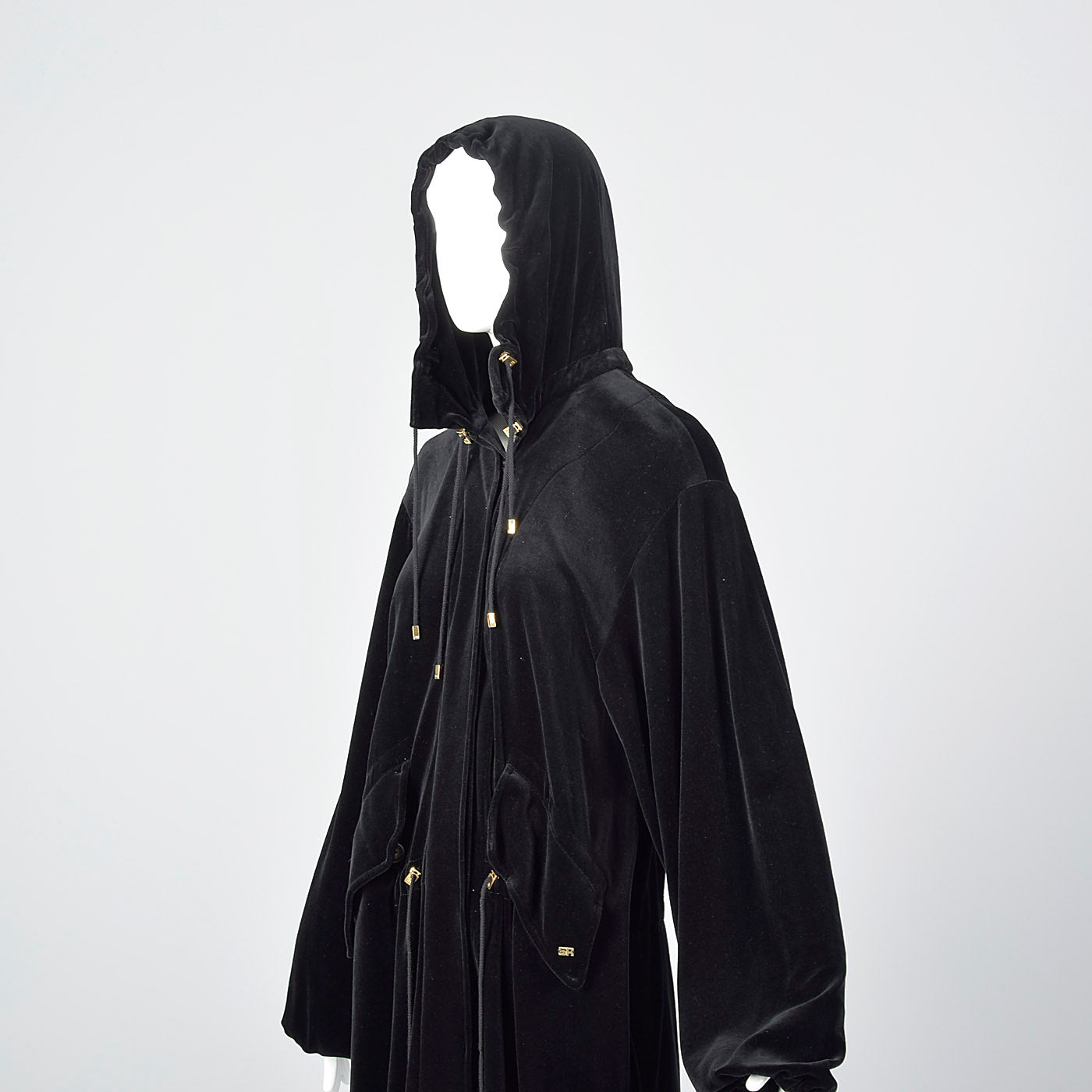 1990s Sonia Rykiel Loose Black Velvet Hooded Coat