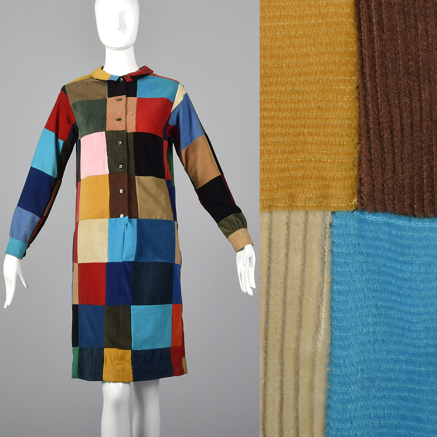 1960s Quilted Patchwork Corduroy Dress