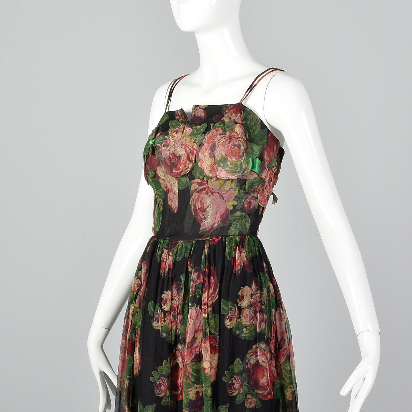 1960s Floral Evening Gown with Floral Applique Bust