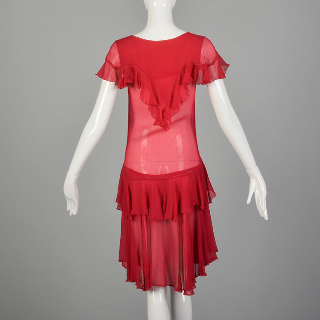 XXS 1920s Flapper Dress Crinkle Red Silk with Flirty Ruffles